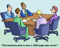 Business Plan. Cartoon of business team meeting, businesswoman says, the business plan is now a 1,200 page epic novel Stock Photography