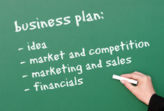 Business plan on chalkboard. Female hand writing business plan ideas in white chalk on a green chalkboard Stock Photos