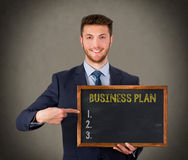 Business Plan on Chalkboard Background Stock Photos