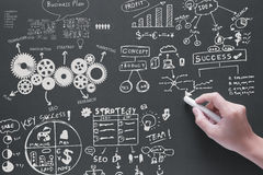 Business plan with chart on blackboard Stock Image