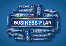 Business plan components. An illustration of a business plan components made of words on a blue background Stock Photo