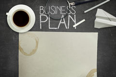 Business plan concept on black blackboard with Stock Images