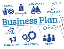 Business plan concept. Business plan. Chart with keywords and icons Stock Photo