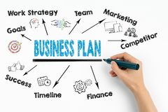 Business Plan Concept. Chart with keywords and icons on white background Stock Photos