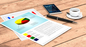 Business plan concept. Close up view of a couple of paper sheets of a business plan, a pen, a cup of coffee, a smartphone with a financial app, wooden background Stock Image