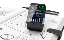 Business plan concept. Close up view of paper notebook with hand drawn doodles of a business plan, a smart watch with a financial app and a pen on background (3d Stock Images