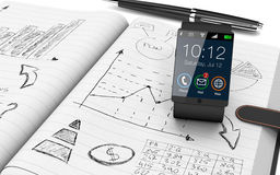 Business plan concept. Close up view of paper notebook with hand drawn doodles of a business plan, a smart watch and a pen on background (3d render Royalty Free Stock Images
