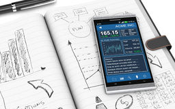 Business plan concept. Close up view of paper notebook with hand drawn doodles of a business plan, a smartphone with a financial app and a pen on background (3d Royalty Free Stock Photos