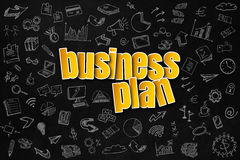 Business Plan concept. Colored text saying Business Plan with hand drawn icons on the background, suitable for business presentation. Business Plan concept on Royalty Free Stock Photography