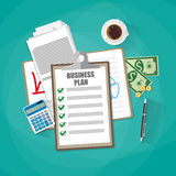 Business plan concept. Business plan document papers. clipboard with checklist, money cash, coins, calculator, pen, coffee cup. top view, vector illustration in Royalty Free Stock Photo