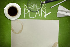 Business plan concept on green blackboard with Stock Photography