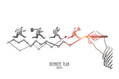 Business plan concept. Hand drawn isolated vector. Business plan concept. Hand drawn financial chart drawn by hand with pencil. Businessmen running to do work Royalty Free Stock Photo