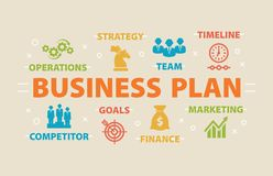 Business Plan. Concept with icons. Stock Image