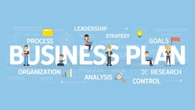 Business plan concept. Business plan concept illustration. Idea of analysis, organization and research Royalty Free Stock Image