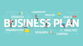 Business plan concept. Business plan concept illustration. Idea of analysis, organization and research Royalty Free Stock Photo