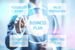 Business plan. Concept man touching virtual screen selecting plan Royalty Free Stock Photos