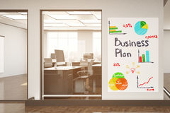 Business plan concept. Modern office interior with colorful sketch on banner. Business plan concept. 3D Rendering Royalty Free Stock Photography