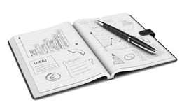 Business plan concept. One open paper notebook and a pen, hand drawn doodles of business plan, white background (3d render Stock Image