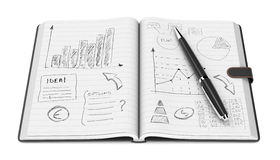 Business plan concept. One open paper notebook and a pen, hand drawn doodles of business plan, white background (3d render Royalty Free Stock Image