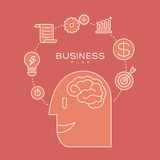 Business plan concept outline icons illustration Royalty Free Stock Images