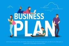 Business plan concept vector illustration. Business people using devices for remote working and professional growth. Flat concept of young men and women using Stock Photos