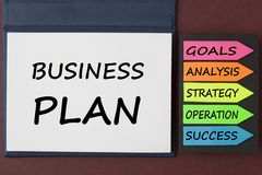 Business Plan Concept. BUSINESS PLAN written on notebook and arrows. Business concept Royalty Free Stock Images