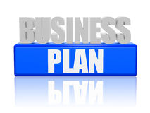 Business plan in 3d letters and block. Business plan text - 3d blue and white letters and block, business concept words Stock Photos
