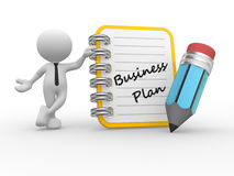 Business plan. 3d people - man, person and notebook. Business plan Royalty Free Stock Images