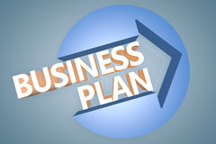 Business Plan. 3d text render illustration concept with a arrow in a circle on blue-grey background Royalty Free Stock Photography