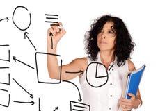 Business plan del disegno della donna sullo schermo virtuale Fotografia Stock