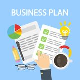Business plan desk. Business plan desk top view. Plan list with data and coffee cup Royalty Free Stock Photo