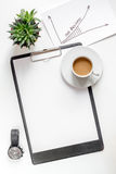 Business plan development with board and coffee desk background top view mock-up Stock Photography