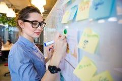 Business plan di scrittura della donna sulla lavagna Fotografie Stock