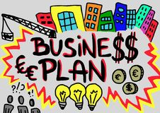 Business plan. Drawn of business plan concepts Royalty Free Stock Photos