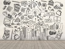 A business plan drawn on a wall. 3d render royalty free illustration