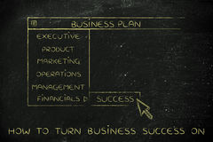 Business plan dropdown menu, select Success Stock Photo