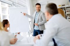 Business plan explained on flipchart Stock Photo