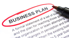 Business Plan. Explanation with heading circled in red Royalty Free Stock Image