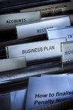 Business Plan Files. Files in a file cabinet with the business plan tab in the center of the image Royalty Free Stock Images