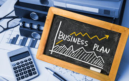 Business plan with financial chart hand-drawn Royalty Free Stock Image