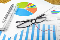 Business plan. Glasses graphic handle planning Stock Images