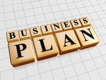 Business plan in golden cubes Stock Photo