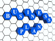 Business plan - hexahedrons in cellular structure. 3d blue cubes hexahedrons in cellular structure with white letters - business plan, word, text Stock Photography