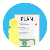 Business plan icon finance. Investment plan checklist, money and task, vector illustration Stock Image