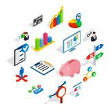 Business plan icons set, isometric 3d style. Business plan icons in isometric 3d style. Business strategy set isolated vector illustration Royalty Free Stock Images