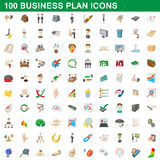100 business plan icons set, cartoon style Royalty Free Stock Images