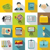 Business plan icons set, flat style. Business plan icons set. Flat illustration of 16 business plan icons for web Stock Illustration