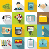 Business plan icons set, flat style Royalty Free Stock Photography
