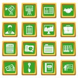 Business plan icons set green. Business plan icons set in green color isolated vector illustration for web and any design Royalty Free Stock Photo
