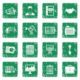 Business plan icons set grunge. Business plan icons set in grunge style green isolated vector illustration Royalty Free Stock Photo